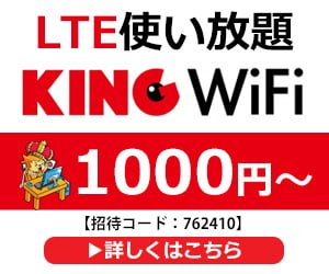 KINGWiFi LTE使い放題1000円~